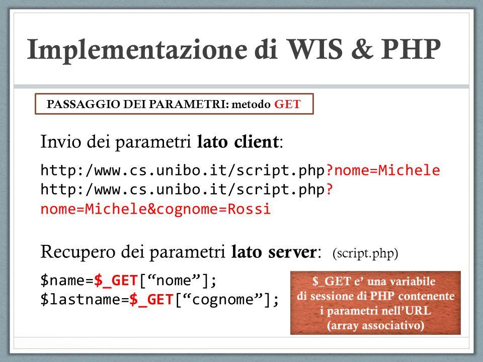 Implementazione di WIS & PHP Invio dei parametri lato client : http:/www.cs.unibo.it/script.php?nome=Michele http:/www.cs.unibo.it/script.php? nome=Mi