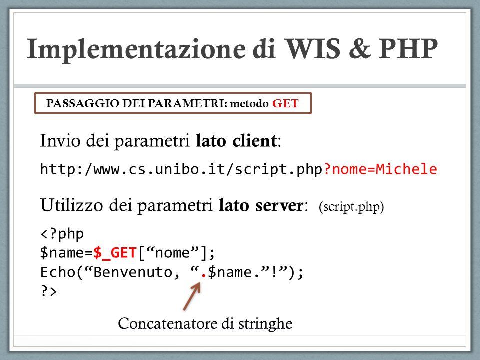 Implementazione di WIS & PHP Invio dei parametri lato client : http:/www.cs.unibo.it/script.php?nome=Michele PASSAGGIO DEI PARAMETRI: metodo GET Utili