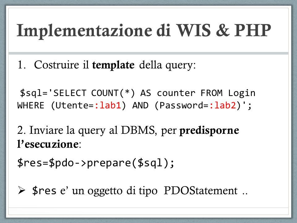Implementazione di WIS & PHP 1.Costruire il template della query: $sql='SELECT COUNT(*) AS counter FROM Login WHERE (Utente=:lab1) AND (Password=:lab2
