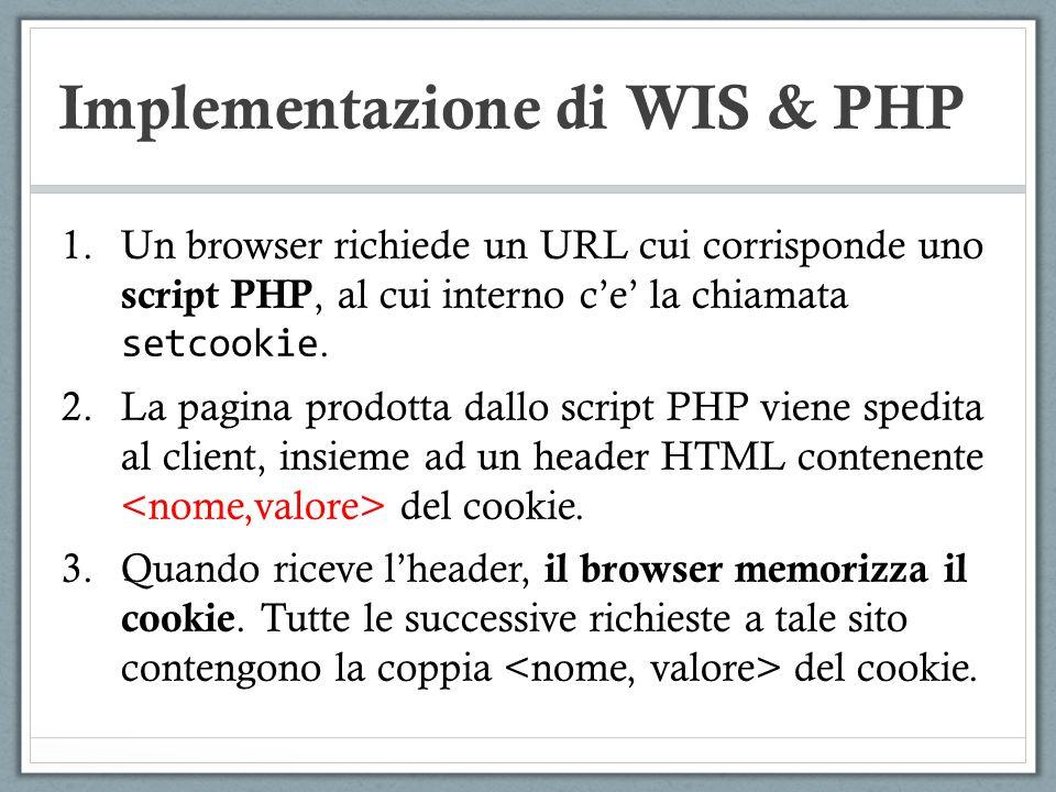 Implementazione di WIS & PHP 1.Un browser richiede un URL cui corrisponde uno script PHP, al cui interno ce la chiamata setcookie. 2.La pagina prodott