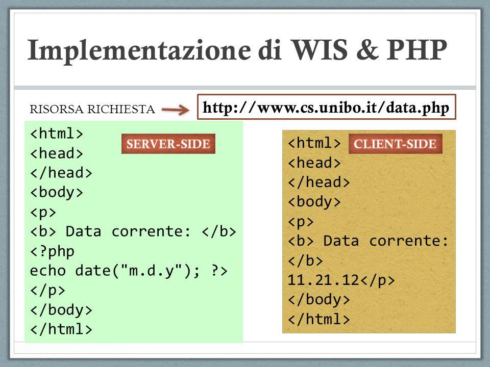 Implementazione di WIS & PHP Recupero dei parametri lato server : (script.php) <?php $name=$_POST[firstname]; $name=$_POST[lastname]; Echo(Benvenuto, $name.$lastname.!); ?> Vantaggi rispetto al metodo GET: ( i ) dimensione/numer parametri; ( ii ) privacy PASSAGGIO DEI PARAMETRI: metodo POST