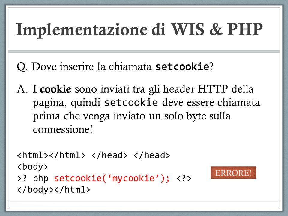 Implementazione di WIS & PHP Q. Dove inserire la chiamata setcookie ? A.I cookie sono inviati tra gli header HTTP della pagina, quindi setcookie deve