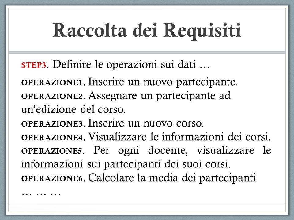 STEP3. Definire le operazioni sui dati … OPERAZIONE1. Inserire un nuovo partecipante. OPERAZIONE2. Assegnare un partecipante ad unedizione del corso.