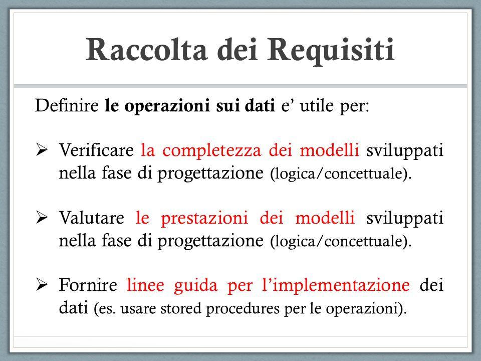 Definire le operazioni sui dati e utile per: Verificare la completezza dei modelli sviluppati nella fase di progettazione (logica/concettuale). Valuta