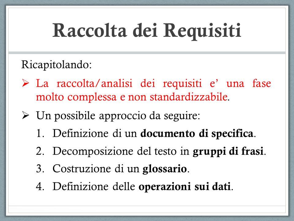 Ricapitolando: La raccolta/analisi dei requisiti e una fase molto complessa e non standardizzabile. Un possibile approccio da seguire: 1.Definizione d