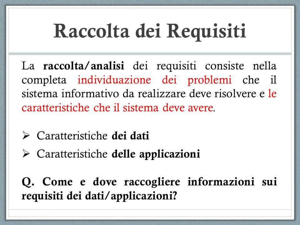 La raccolta/analisi dei requisiti consiste nella completa individuazione dei problemi che il sistema informativo da realizzare deve risolvere e le car