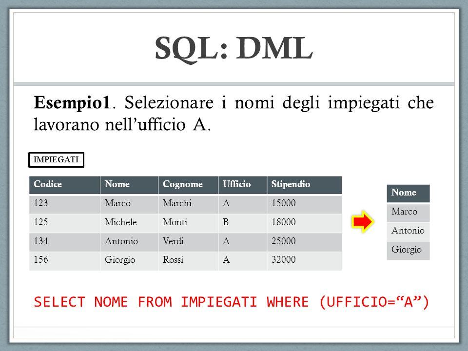 SQL: DML CodiceNomeCognomeUfficioStipendio 123MarcoMarchiA15000 125MicheleMontiB18000 134AntonioVerdiA25000 156GiorgioRossiA32000 IMPIEGATI SELECT NOM