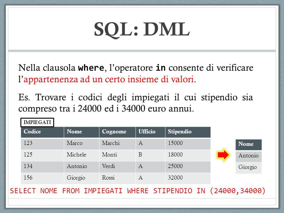 SQL: DML Nella clausola where, loperatore in consente di verificare lappartenenza ad un certo insieme di valori. Es. Trovare i codici degli impiegati
