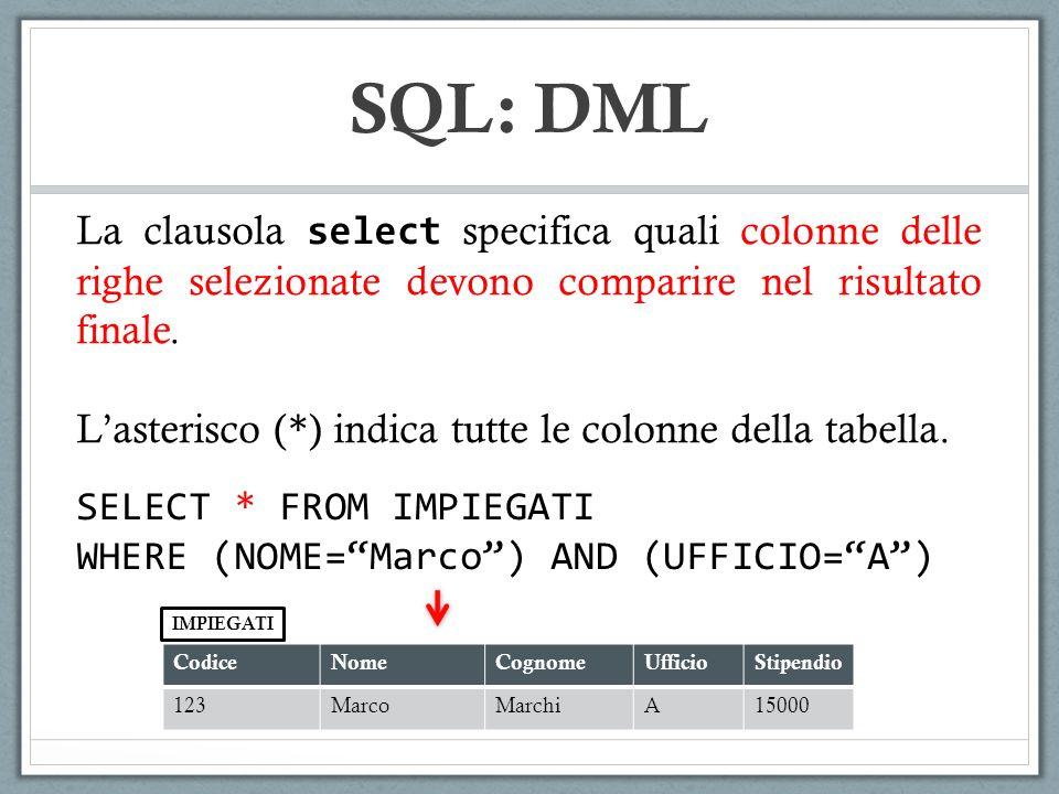 SQL: DML La clausola select specifica quali colonne delle righe selezionate devono comparire nel risultato finale. Lasterisco ( * ) indica tutte le co
