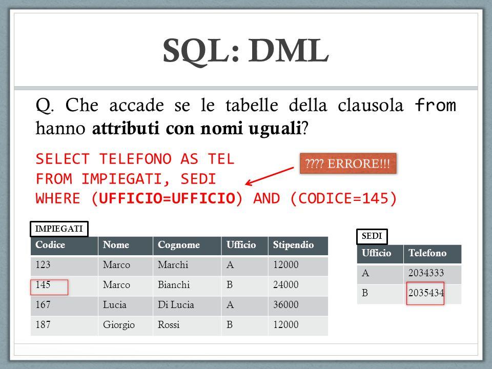 SQL: DML Q. Che accade se le tabelle della clausola from hanno attributi con nomi uguali ? CodiceNomeCognomeUfficioStipendio 123MarcoMarchiA12000 145M