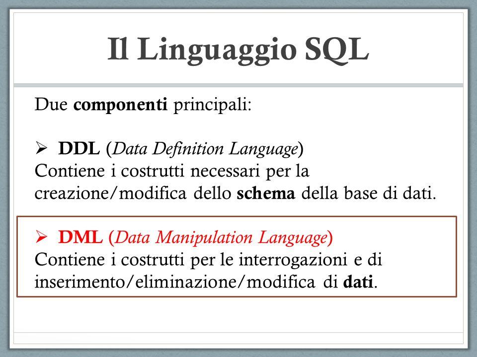 SQL: DML SELECT G2.NOME, G2.COGNOME FROM GENITORI AS G1, GENITORI AS G2 WHERE (G1.NOMEGEN=G2.NOME) AND (G1.COGNOMEGEN=G2.COGNOME) AND (G1.NOME=MATTEO) AND (G1.COGNOME=BIANCHI) NomeCognomeNomeGenCognomeGen MatteoBianchiMicheleBianchi MicheleBianchiGianniBianchi MatteoBianchiLuciaRossi LuciaRossiSaraRossi NicolaVerdiSimoneVerdi GENITORI
