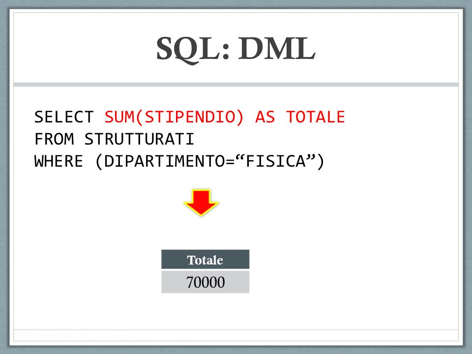 SQL: DML SELECT SUM(STIPENDIO) AS TOTALE FROM STRUTTURATI WHERE (DIPARTIMENTO=FISICA) Totale 70000