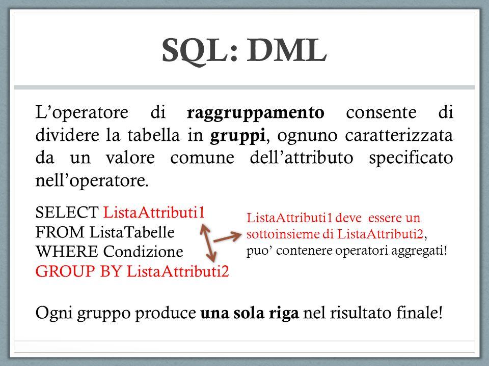 SQL: DML Loperatore di raggruppamento consente di dividere la tabella in gruppi, ognuno caratterizzata da un valore comune dellattributo specificato n