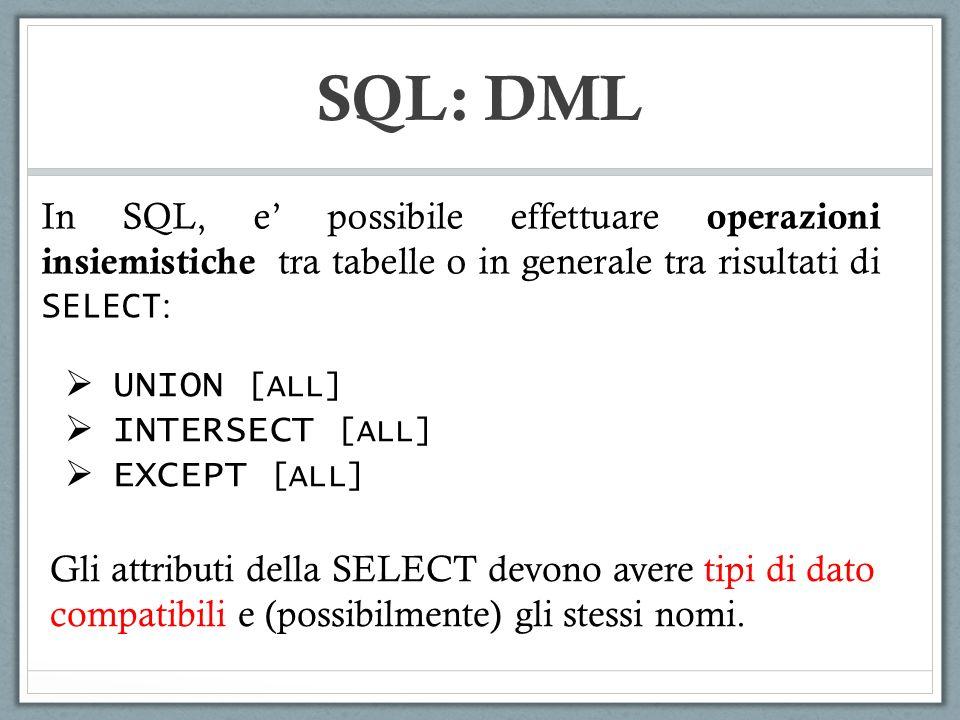 SQL: DML UNION [ALL] INTERSECT [ALL] EXCEPT [ALL] In SQL, e possibile effettuare operazioni insiemistiche tra tabelle o in generale tra risultati di S