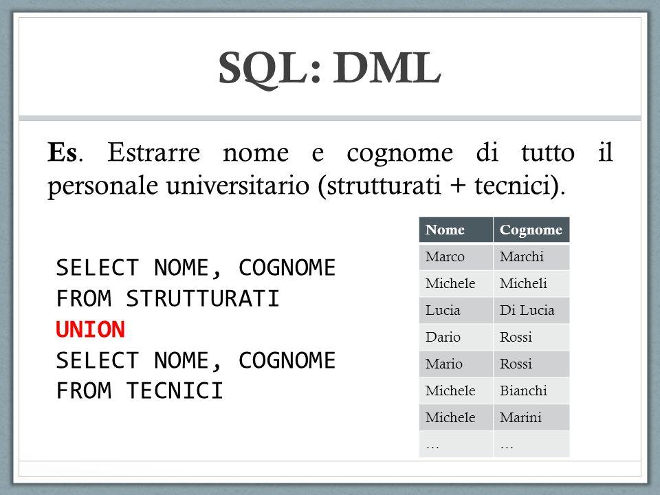 SQL: DML Es. Estrarre nome e cognome di tutto il personale universitario (strutturati + tecnici). SELECT NOME, COGNOME FROM STRUTTURATI UNION SELECT N