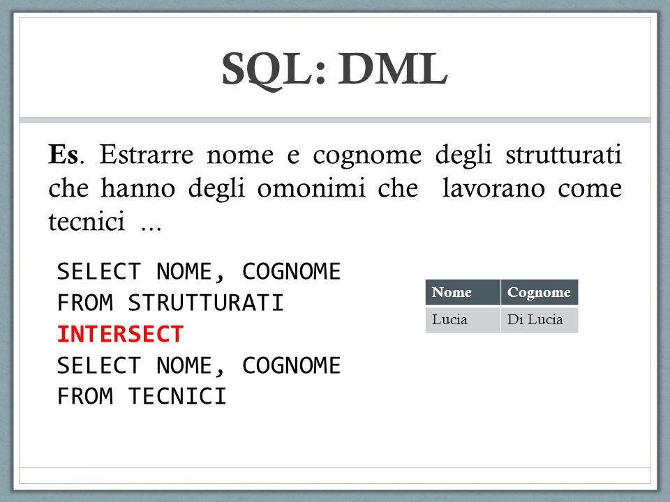 SQL: DML Es. Estrarre nome e cognome degli strutturati che hanno degli omonimi che lavorano come tecnici... SELECT NOME, COGNOME FROM STRUTTURATI INTE