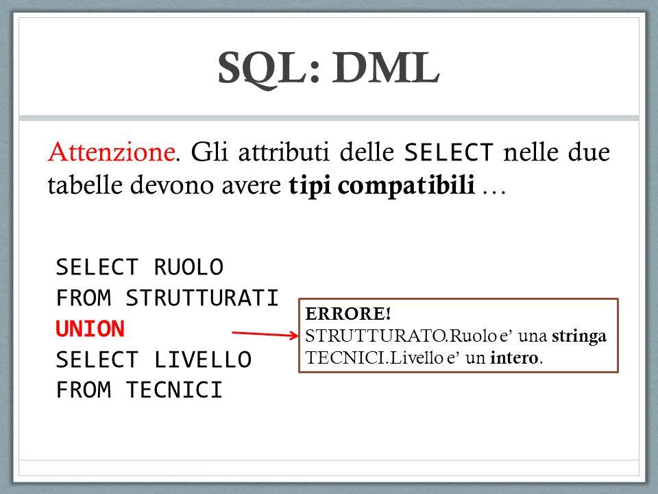 SQL: DML Attenzione. Gli attributi delle SELECT nelle due tabelle devono avere tipi compatibili … SELECT RUOLO FROM STRUTTURATI UNION SELECT LIVELLO F