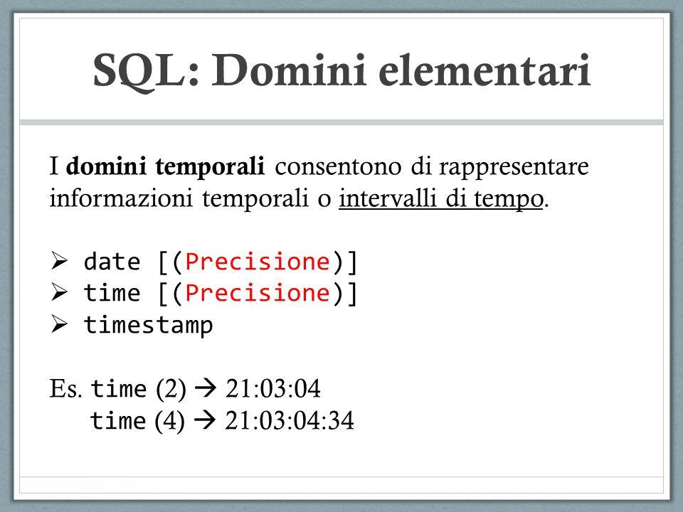 SQL: Domini elementari I domini temporali consentono di rappresentare informazioni temporali o intervalli di tempo.