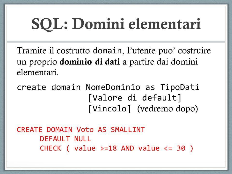 Tramite il costrutto domain, lutente puo costruire un proprio dominio di dati a partire dai domini elementari.