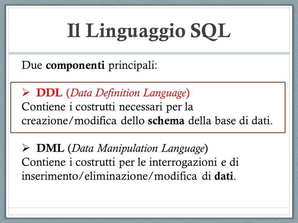 Il Linguaggio SQL Due componenti principali: DDL ( Data Definition Language ) Contiene i costrutti necessari per la creazione/modifica dello schema della base di dati.