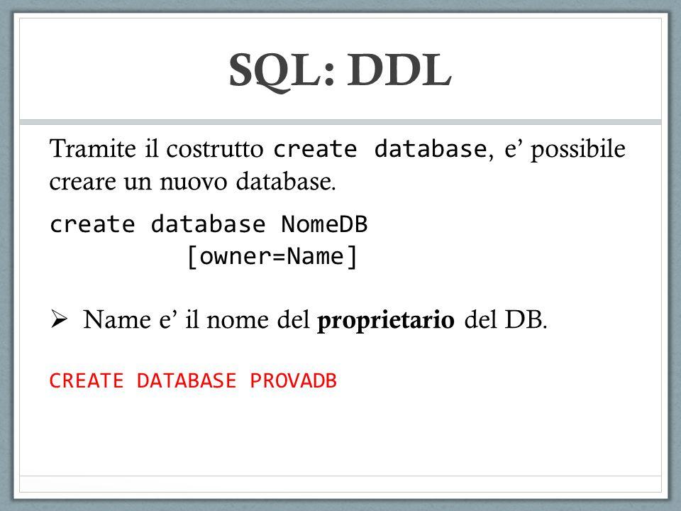Tramite il costrutto create schema, e possibile costruire uno schema di una base di dati (ossia il collettore di tabelle/viste/etc).