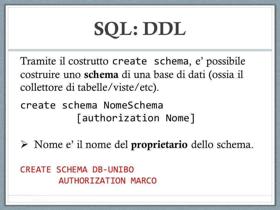 NomeCodiceIdDocente Basi di dati012100 Programmazione121301 Sistemi Operativi145502 CorsoStudenteVoto 0121432423524530L 1213432423524525 1213985445656518 CORSI ESAMI CREATE TABLE ESAMI ( CORSO VARCHAR(4) REFERENCES CORSI(CODICE) ON DELETE SET NULL ON UPDATE CASCADE STUDENTE VARCHAR(20), PRIMARY KEY(CORSO, STUDENTE), … ) SQL: DDL