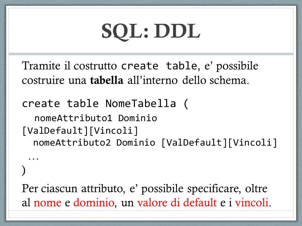 CodiceNomeCognomeUfficio 123MarcoMarchiA IMPIEGATI SQL: DDL CREATE TABLE IMPIEGATI ( CODICE SMALLINT NOT NULL, UFFICIO CHARACTER NOT NULL, UNIQUE(CODICE, UFFICIO) ) CREATE TABLE IMPIEGATI ( CODICE SMALLINT NOT NULL UNIQUE, UFFICIO CHARACTER NOT NULL UNIQUE, )