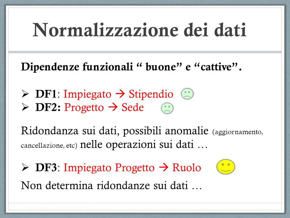 Normalizzazione dei dati Dipendenze funzionali buone e cattive. DF1 : Impiegato Stipendio DF2: Progetto Sede Ridondanza sui dati, possibili anomalie (