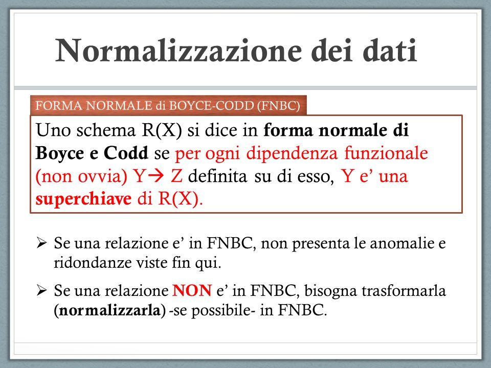 Normalizzazione dei dati Uno schema R(X) si dice in forma normale di Boyce e Codd se per ogni dipendenza funzionale (non ovvia) Y Z definita su di esso, Y e una superchiave di R(X).