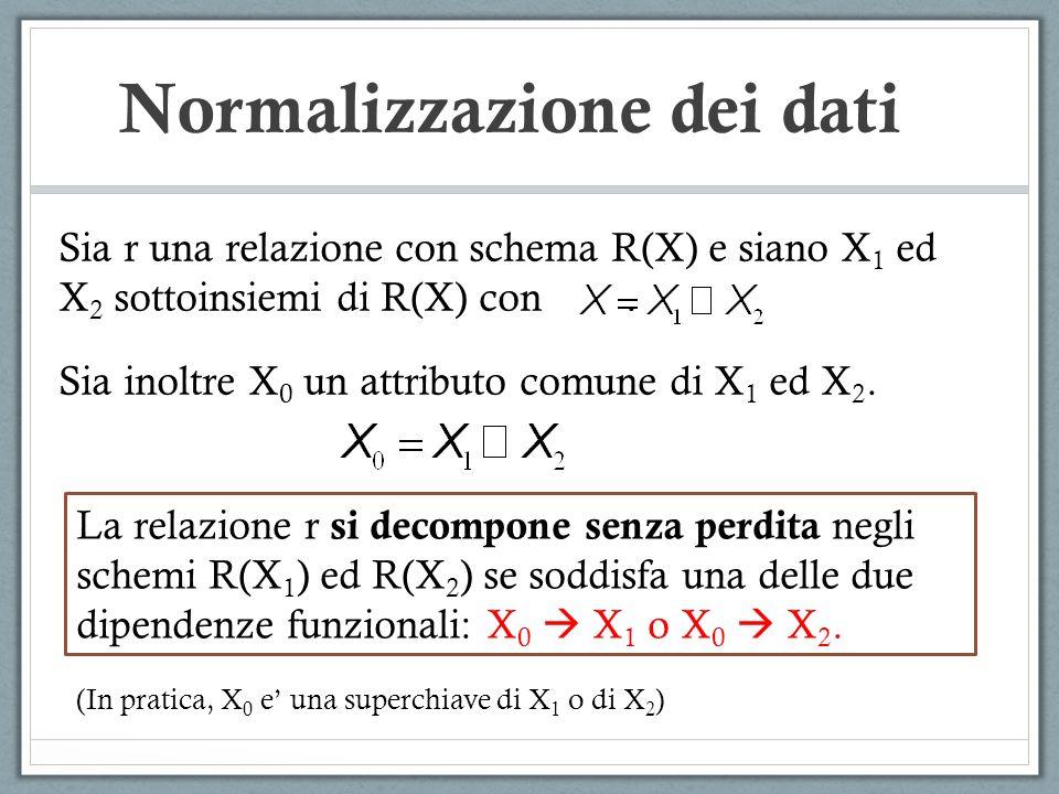 Normalizzazione dei dati Sia r una relazione con schema R(X) e siano X 1 ed X 2 sottoinsiemi di R(X) con. Sia inoltre X 0 un attributo comune di X 1 e