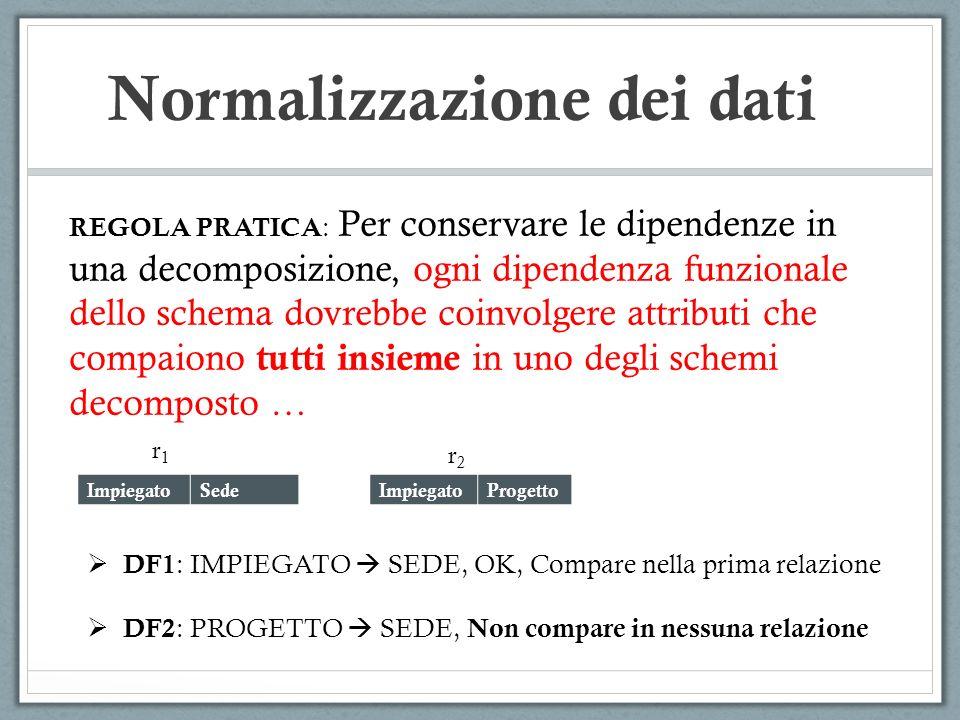 Normalizzazione dei dati REGOLA PRATICA : Per conservare le dipendenze in una decomposizione, ogni dipendenza funzionale dello schema dovrebbe coinvol
