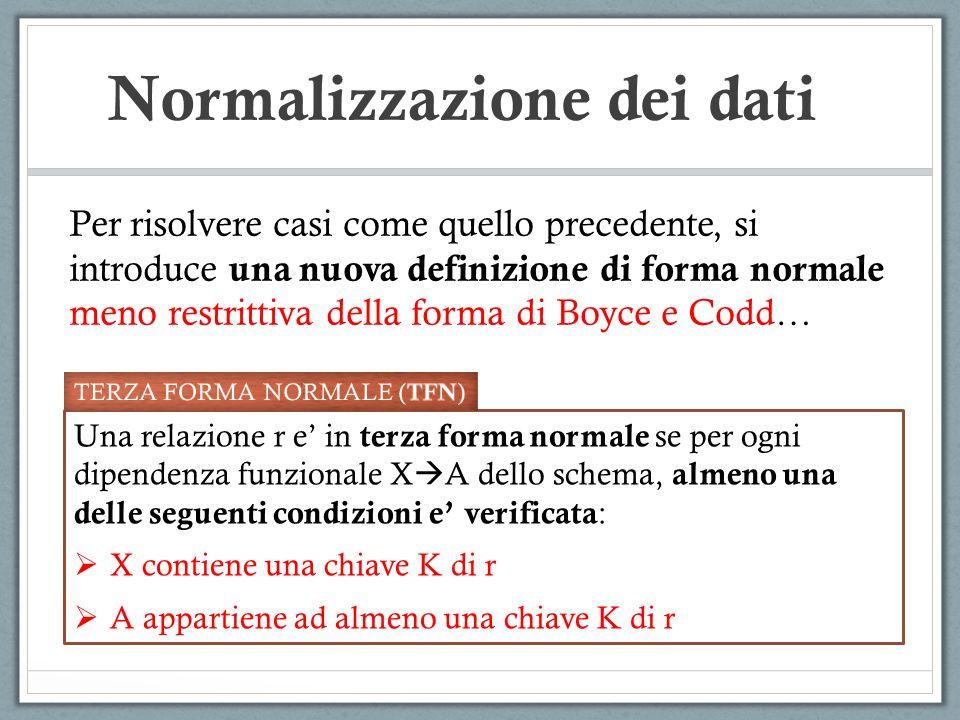 Normalizzazione dei dati Per risolvere casi come quello precedente, si introduce una nuova definizione di forma normale meno restrittiva della forma d