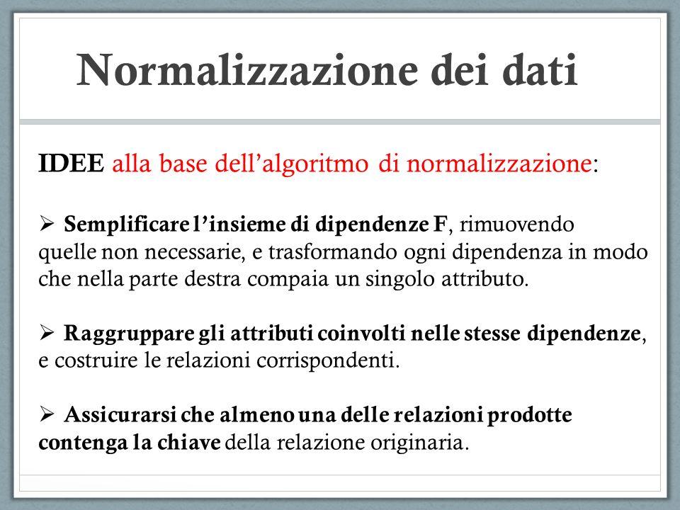 Normalizzazione dei dati IDEE alla base dellalgoritmo di normalizzazione: Semplificare linsieme di dipendenze F, rimuovendo quelle non necessarie, e t