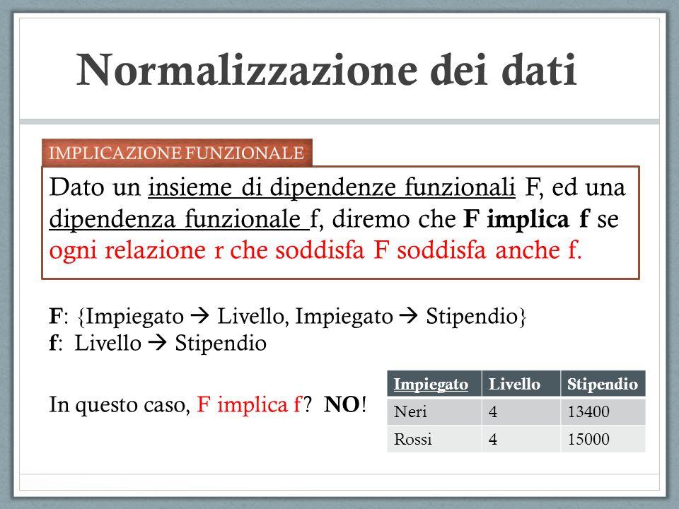 Normalizzazione dei dati Dato un insieme di dipendenze funzionali F, ed una dipendenza funzionale f, diremo che F implica f se ogni relazione r che so