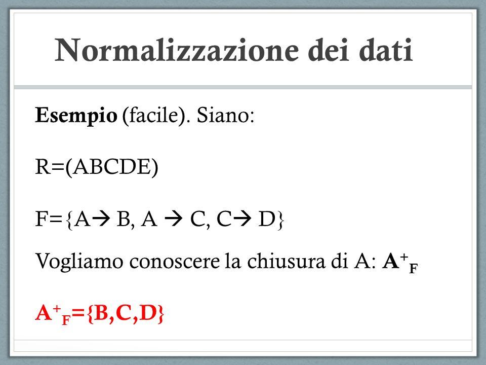 Normalizzazione dei dati Esempio (facile). Siano: R=(ABCDE) F={A B, A C, C D} Vogliamo conoscere la chiusura di A: A + F A + F ={B,C,D}