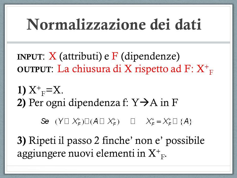 Normalizzazione dei dati INPUT : X (attributi) e F (dipendenze) OUTPUT : La chiusura di X rispetto ad F: X + F 1) X + F =X. 2) Per ogni dipendenza f: