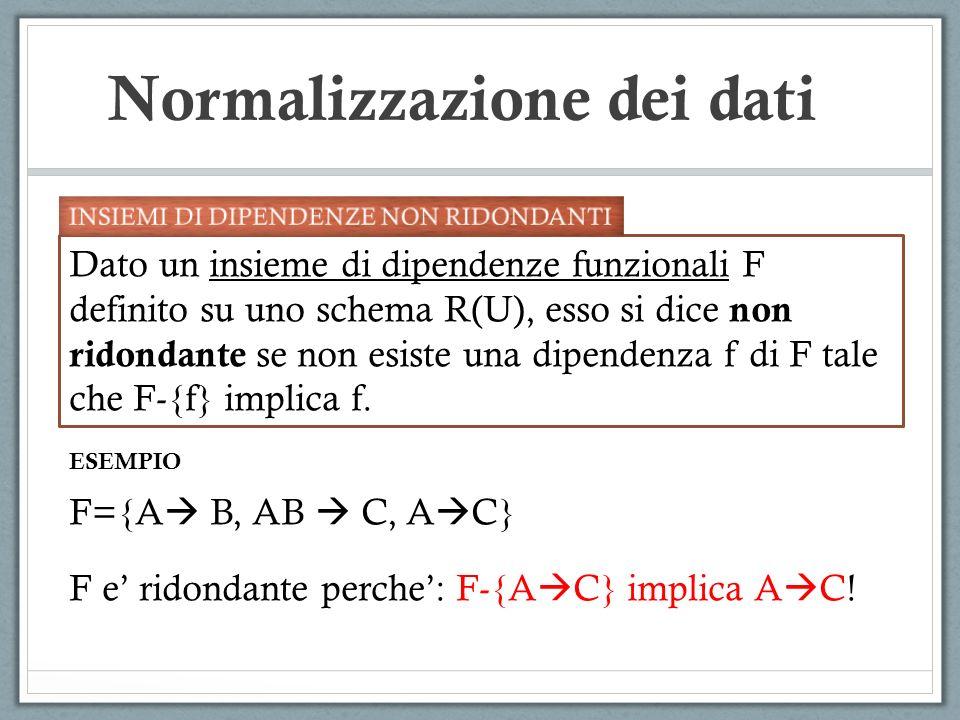 Normalizzazione dei dati Dato un insieme di dipendenze funzionali F definito su uno schema R(U), esso si dice non ridondante se non esiste una dipendenza f di F tale che F-{f} implica f.