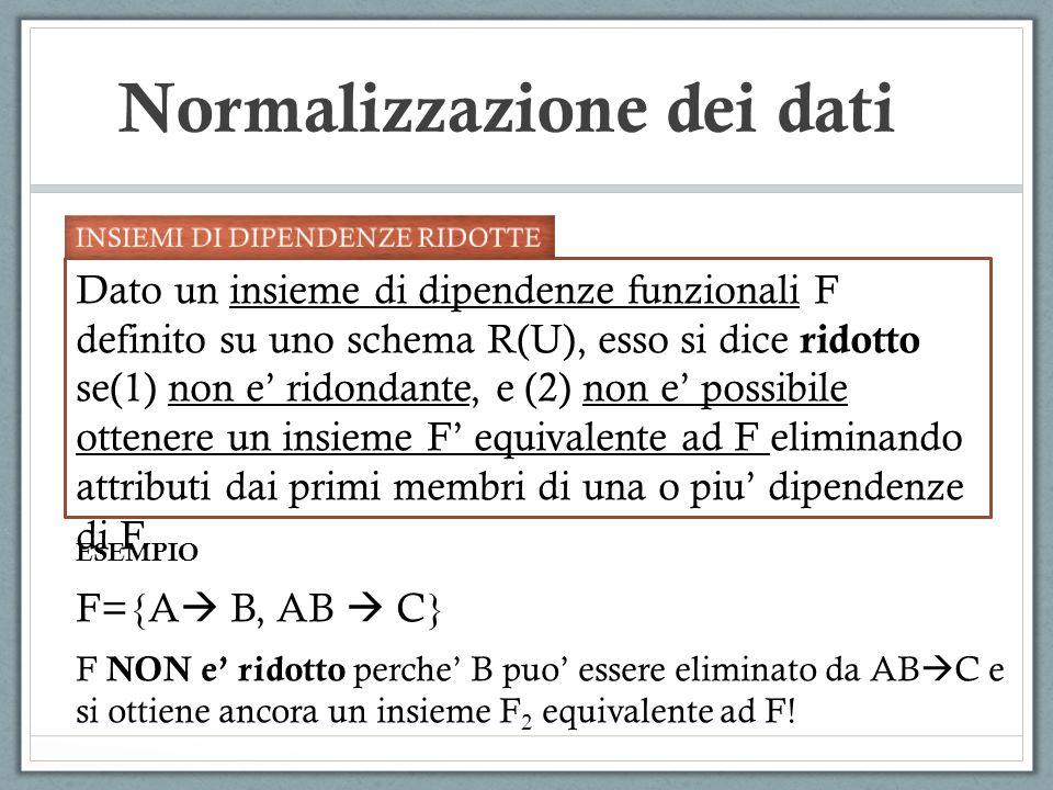 Normalizzazione dei dati Dato un insieme di dipendenze funzionali F definito su uno schema R(U), esso si dice ridotto se(1) non e ridondante, e (2) non e possibile ottenere un insieme F equivalente ad F eliminando attributi dai primi membri di una o piu dipendenze di F.