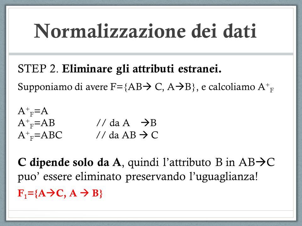 Normalizzazione dei dati STEP 2. Eliminare gli attributi estranei. Supponiamo di avere F={AB C, A B}, e calcoliamo A + F A + F =A A + F =AB // da A B