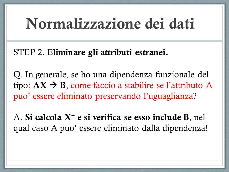 Normalizzazione dei dati STEP 2. Eliminare gli attributi estranei. Q. In generale, se ho una dipendenza funzionale del tipo: AX B, come faccio a stabi
