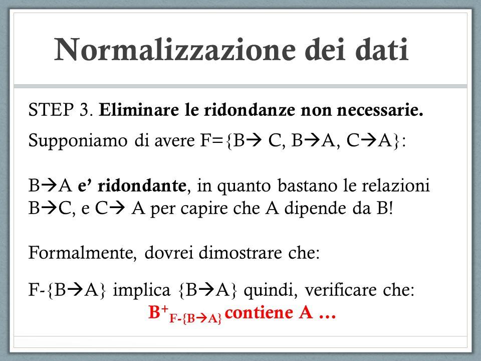 Normalizzazione dei dati STEP 3. Eliminare le ridondanze non necessarie. Supponiamo di avere F={B C, B A, C A}: B A e ridondante, in quanto bastano le