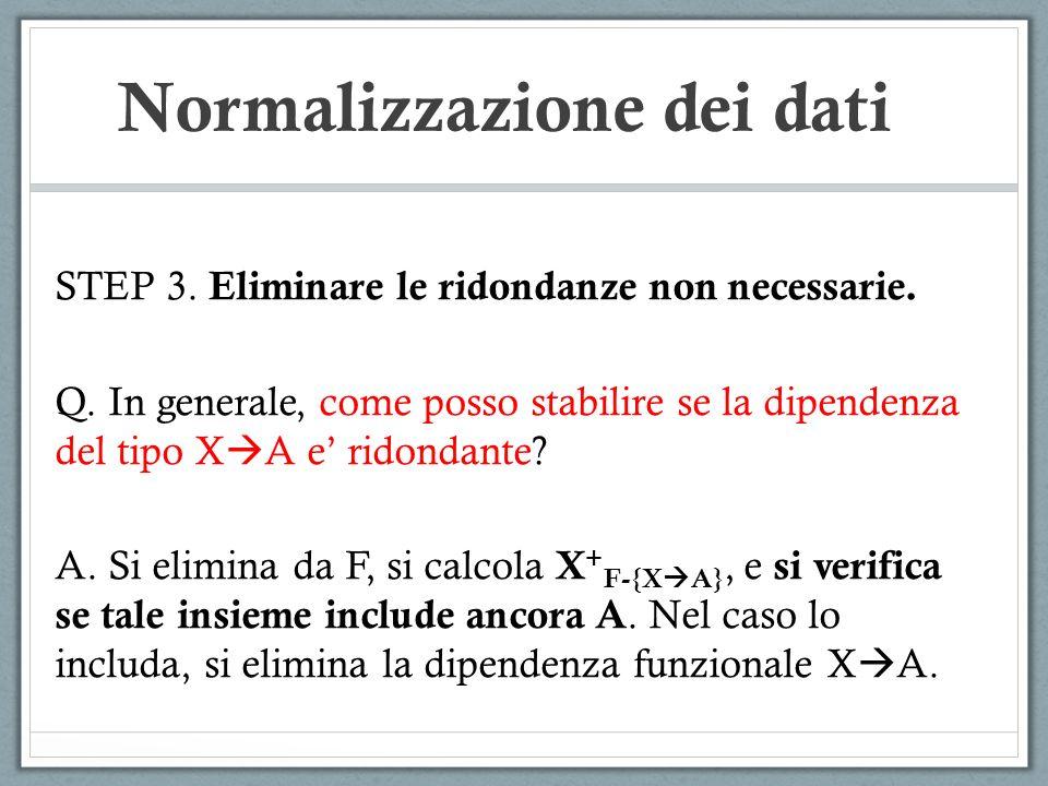 Normalizzazione dei dati STEP 3.Eliminare le ridondanze non necessarie.
