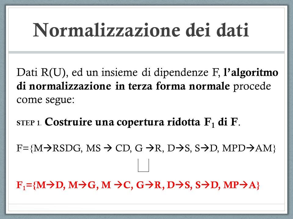 Normalizzazione dei dati Dati R(U), ed un insieme di dipendenze F, lalgoritmo di normalizzazione in terza forma normale procede come segue: STEP 1. Co
