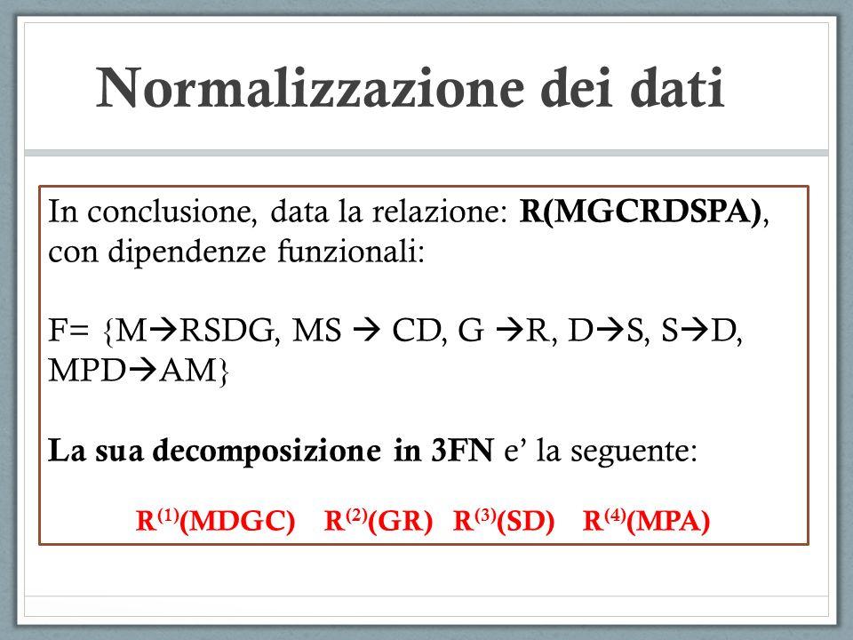 Normalizzazione dei dati In conclusione, data la relazione: R(MGCRDSPA), con dipendenze funzionali: F= {M RSDG, MS CD, G R, D S, S D, MPD AM} La sua decomposizione in 3FN e la seguente: R (1) (MDGC) R (2) (GR) R (3) (SD) R (4) (MPA)