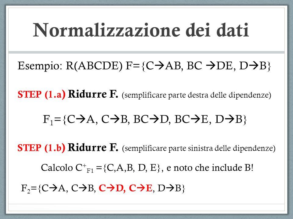 Normalizzazione dei dati Esempio: R(ABCDE) F={C AB, BC DE, D B} STEP (1.a ) Ridurre F. (semplificare parte destra delle dipendenze) F 1 ={C A, C B, BC