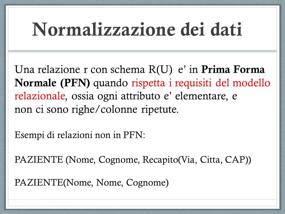 Normalizzazione dei dati Una relazione r con schema R(U) e in Prima Forma Normale (PFN) quando rispetta i requisiti del modello relazionale, ossia ogni attributo e elementare, e non ci sono righe/colonne ripetute.