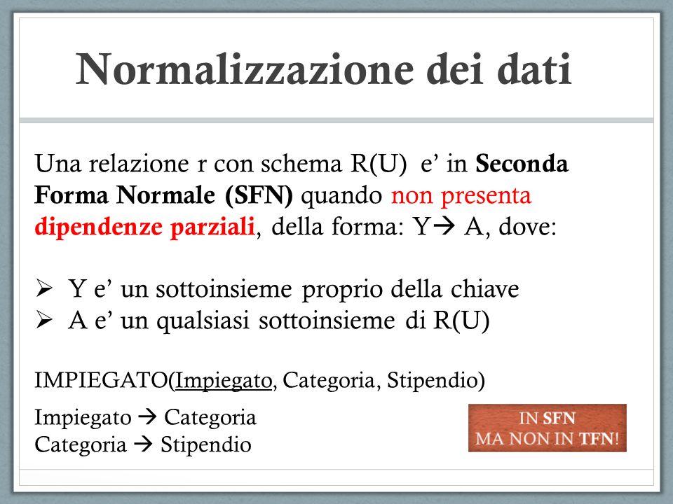 Normalizzazione dei dati Una relazione r con schema R(U) e in Seconda Forma Normale (SFN) quando non presenta dipendenze parziali, della forma: Y A, d