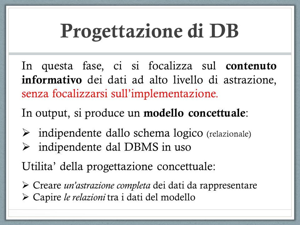 Sono disponibili molti modelli concettuali per la progettazione di basi di dati: MODELLO ENTITA -RELAZIONE (ER) UNIFIED MODELING LANGUAGE (UML) Progettazione di DB