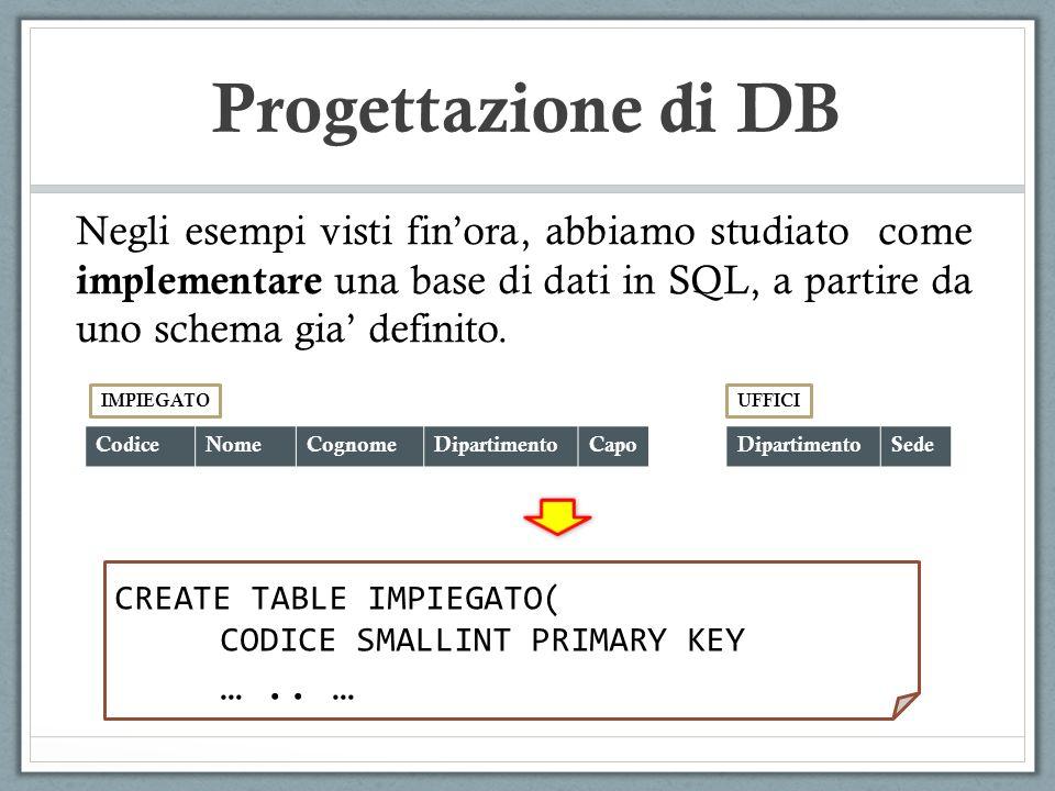 Progettazione di DB Come procedere se dobbiamo realizzare da zero un nuovo sistema informativo.