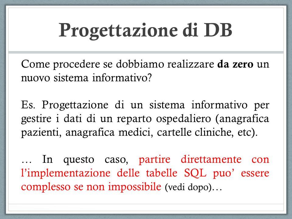 Progettazione di DB PROBLEMA1 : Dimensionamento del problema.